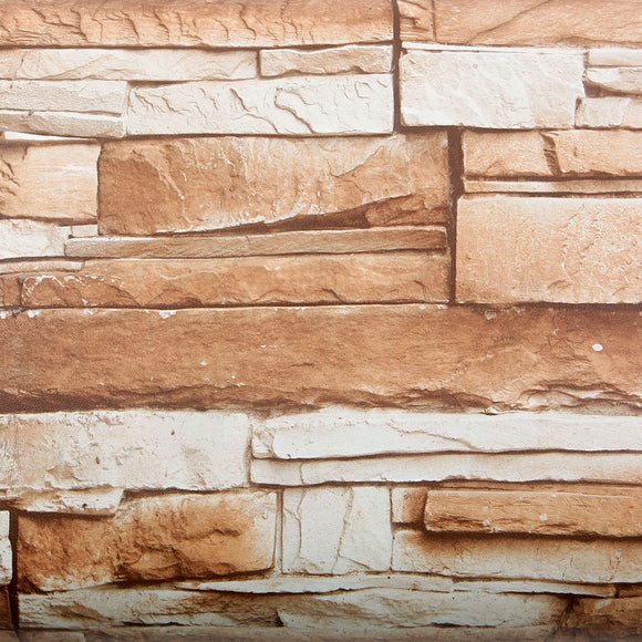 ROSEROSA Peel and Stick Flame retardation PVC Instant Brick / Stone Decorative Self-Adhesive Film Countertop Backsplash Slate Stone FM741(4245-1) : 2.00 feet X 6.56 feet