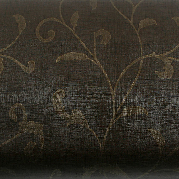 ROSEROSA Peel & Stick PVC Instant Papyrus / Damask Decorative Self-Adhesive Film Countertop Backsplash Papyrus Dark Brown Gold GP9110-1 : 1.96 Feet X 8.20 Feet