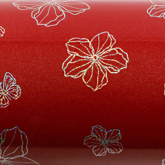 ROSEROSA Peel and Stick PVC High Glossy Hologram Self-adhesive Covering Modern Flower H8024-2