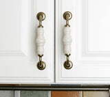 Set of 4pcs Ceramic Door Handles Pulls for Cupboard Cabinet Drawer JP1021-Gold White : 4 Handles