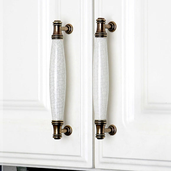 Set of 4pcs Ceramic Door Handles Pulls for Cupboard Cabinet Drawer JP1118-White : 4 Handles