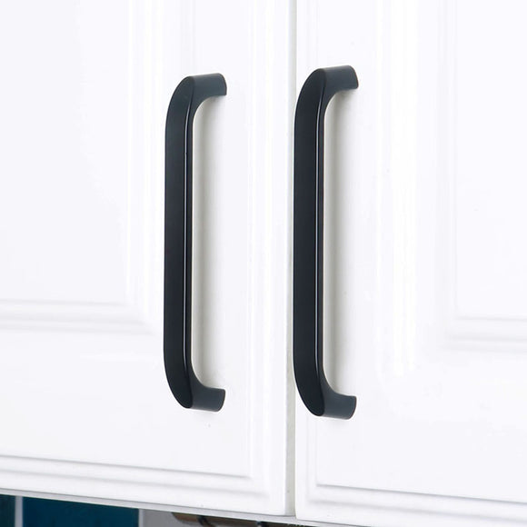 Set of 4pcs Steel Door Handles Pulls for Cupboard Cabinet Drawer JP2024-Black : 4 Handles