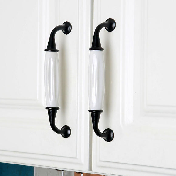 Set of 4pcs Ceramic Door Handles Pulls for Cupboard Cabinet Drawer JP8104-White : 4 Handles