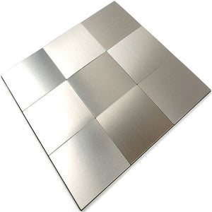 ROSEROSA Peel and Stick Metal Tile Backsplash for Kitchen, Wall Tiles Brushed Aluminum Surface : Pack of 5 (Metal-302)