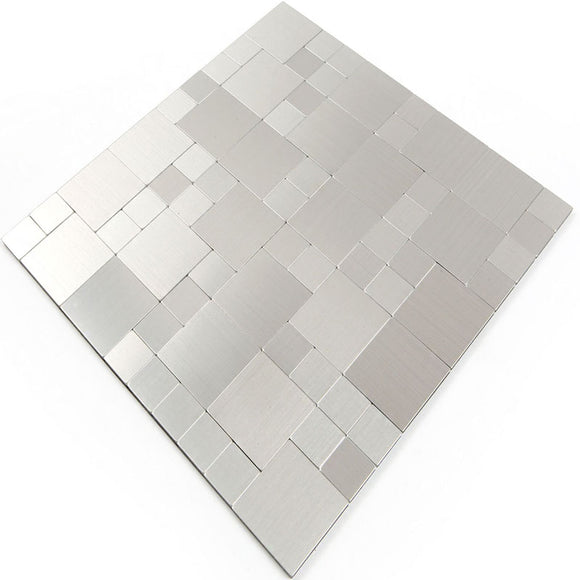 ROSEROSA Peel and Stick Metal Tile Backsplash for Kitchen, Wall Tiles Brushed Aluminum Surface : Pack of 5 (Metal-304)
