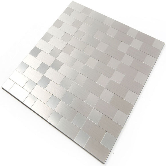 ROSEROSA Peel and Stick Metal Tile Backsplash for Kitchen, Wall Tiles Brushed Aluminum Surface : Pack of 5 (Metal-305)