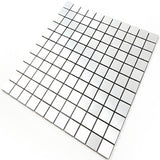 ROSEROSA Peel and Stick Metal Tile Backsplash for Kitchen, Wall Tiles Brushed Aluminum Surface : Pack of 5 (Metal-310)