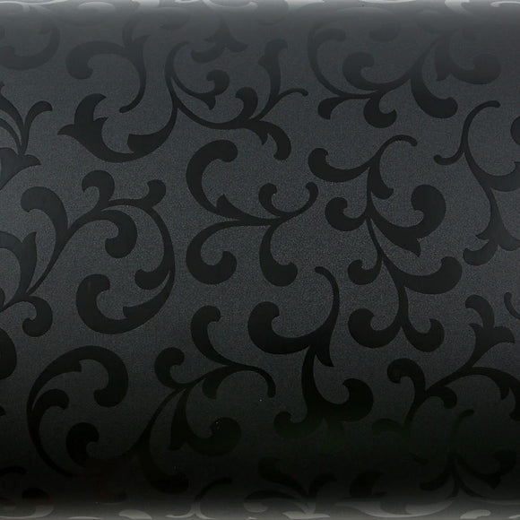 ROSEROSA Peel & Stick Flame retardation PVC Instant Papyrus / Damask Decorative Self-Adhesive Film Countertop Backsplash Papyrus Black Pearl MF5156-1 : 1.98 Feet X 6.56 Feet