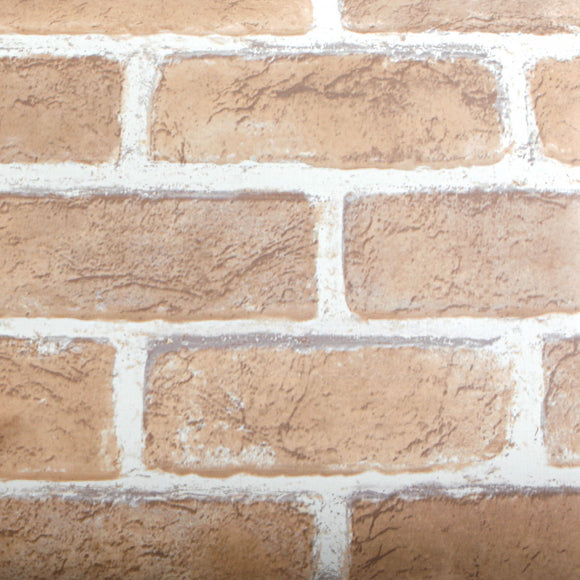 ROSEROSA Peel and Stick PVC Faux Brick Decorative Instant Self-Adhesive Covering Countertop Backsplash Sharon Brick S415(4250-4) : 1.64 feet X 8.20 feet