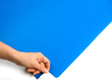 ROSEROSA Peel and Stick Flame Retardation PVC Solid Self-adhesive Covering Countertop Blue SF39