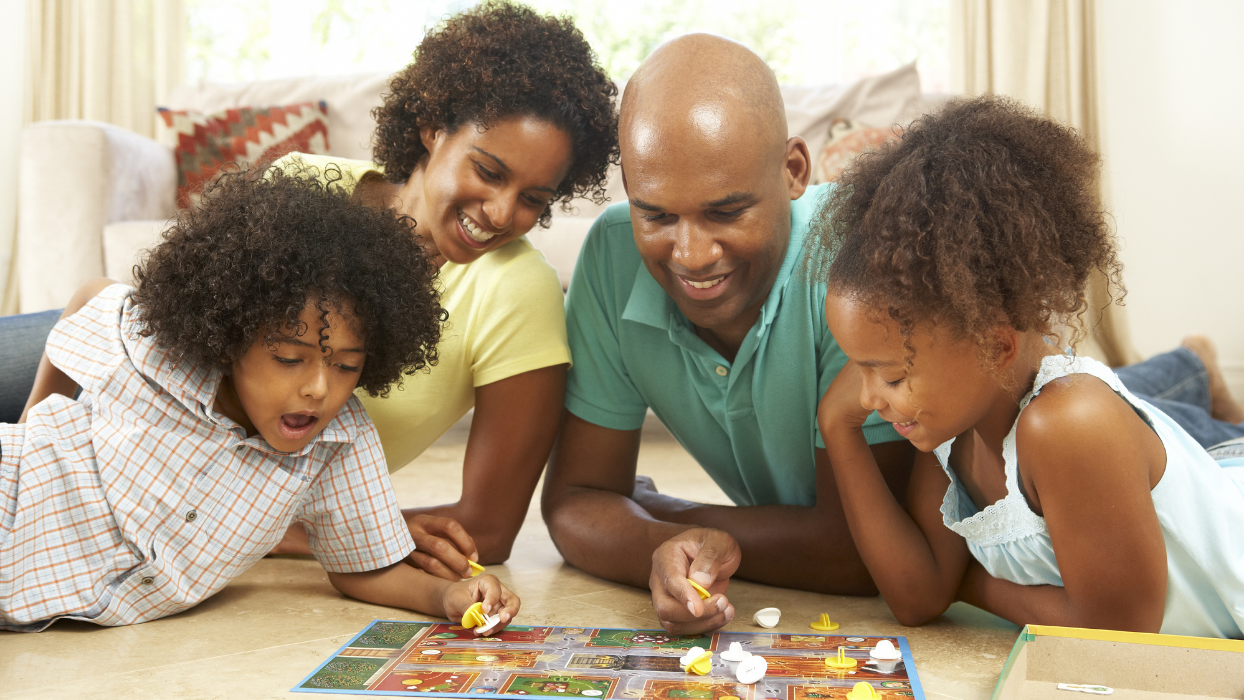 playing board games with family