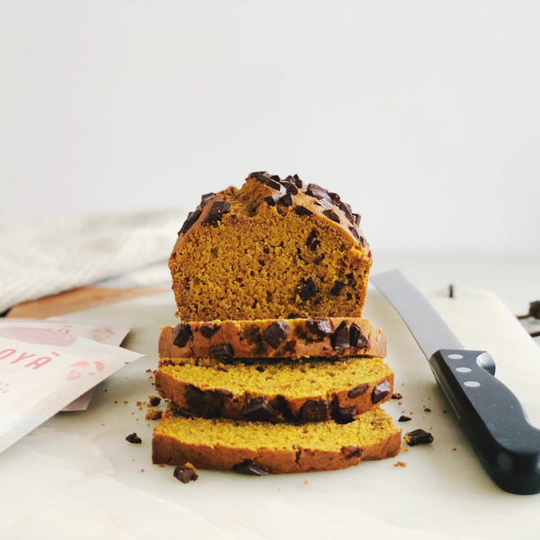 Recipe for JOYA Pumpkin Chocolate Chunk Loaf