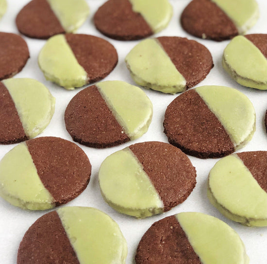 A tray full of JOYA's Matcha Mint Chocolate Cookies