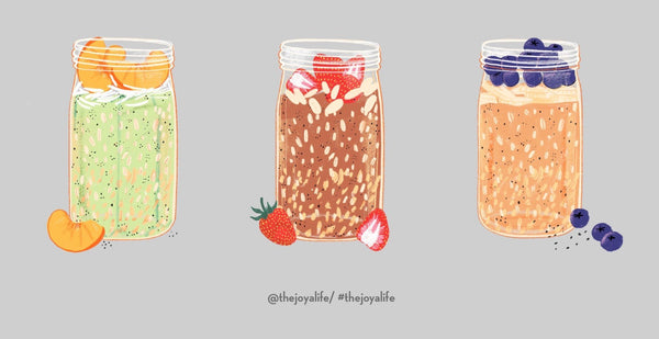 Illustration of jar of overnight oats using JOYÀ adaptogenic Elixir blends