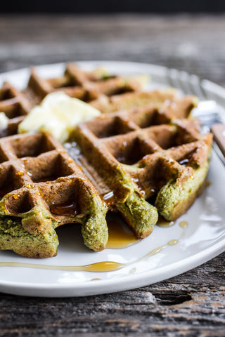 Matcha and pumpkin seed waffles.