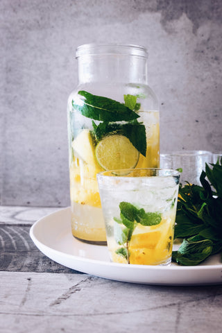 Ice Water infused with lemon, lime and mint