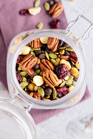 nuts and seeds in sealable jar