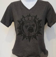 Bully King  V-Neck Tee (Womens) - Chicago English Bulldog Rescue - eBully Boutique