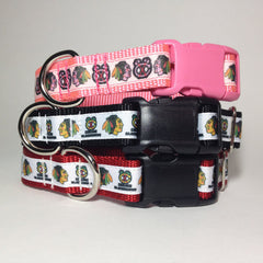 Moxino Blackhawks Ribbon Dog Collar - Chicago English Bulldog Rescue - eBully Boutique  - 1