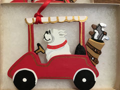 Bulldog in Golf Cart Ornament