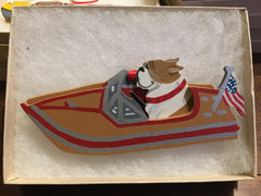 Bulldog in Motor Boat Ornament