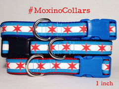 Moxino Chicago Flag Dog Collar - Chicago English Bulldog Rescue - eBully Boutique