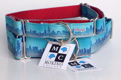 Chicago Skyline dog collar - Chicago English Bulldog Rescue - eBully Boutique