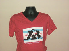 Chicago Flag V Neck Red Tee (Womens) - Chicago English Bulldog Rescue - eBully Boutique  - 1