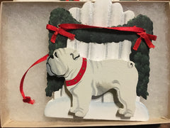 Bulldog White Fence Ornament