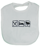 Eat Sleep Bulldog Bib (White) - Chicago English Bulldog Rescue - eBully Boutique