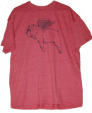 Flying Bully Heather Red Tee (Unisex) - Chicago English Bulldog Rescue - eBully Boutique