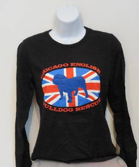 Union Jack Long-Sleeve Tee (Womens) - Chicago English Bulldog Rescue - eBully Boutique  - 1