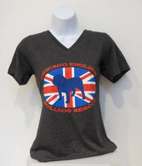 Union Jack Grey V-Neck Tee (Womens) - Chicago English Bulldog Rescue - eBully Boutique