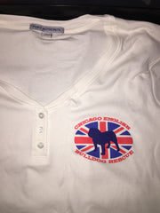 White Union Jack 3/4 Sleeve Henley (Womens) - Chicago English Bulldog Rescue - eBully Boutique  - 1