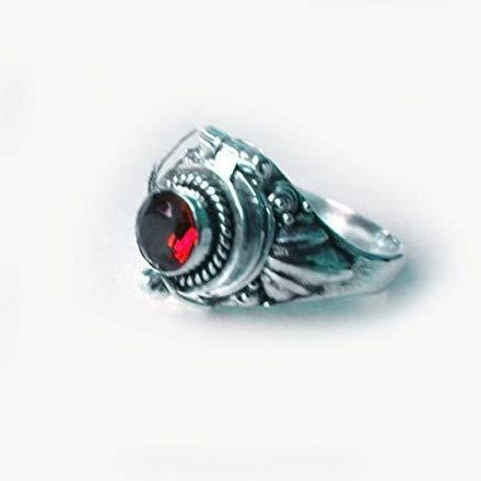 Sterling Silver Locket Ring Secret Compartment Garnet