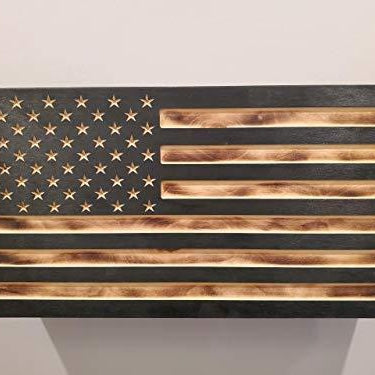 Burnt Wood American Flag Concealment Cabinet
