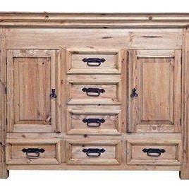 Rustic Small Dresser with Hidden Lockable Gun Chest on Top