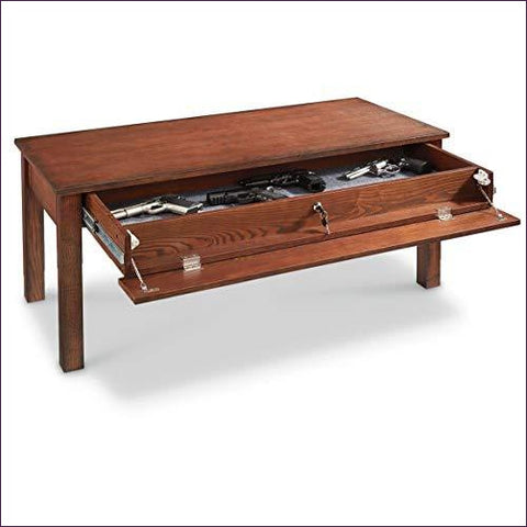 Gun Concealment Coffee Table - Concealment furniture and gun concealment furniture to hide your money, pistol, rifle or other weapons, keep guns safe away from kids with hidden compartment furniture -Secret Stashing