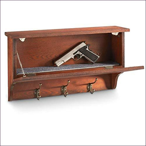 Gun Concealment Wall Shelf with Hooks