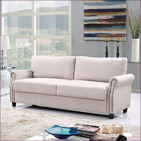 Classic Living Room Linen Sofa with Nailhead Trim Furniture with Storage