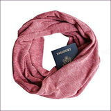 Faded Red Rib Knit Infinity Scarf with Zippered Secret Pocket - Hide your money and passport and keep it safe when traveling with clothes and jewelry with secret compartments -Secret Stashing