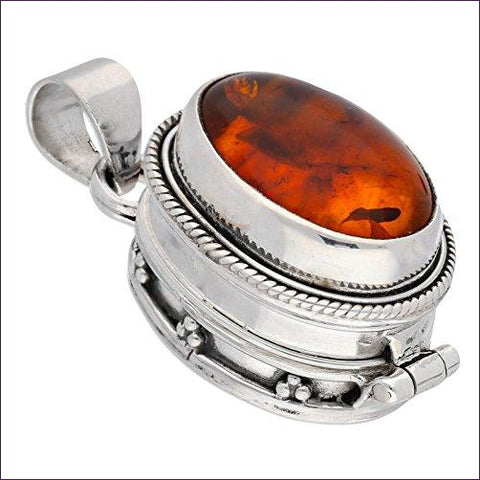 Gemstone Sterling Silver Poison Locket Pill Box Pendant - Diversion Safes - Hide your stash and money in everyday items that contain secret compartments, if they don't see it, they can't get it -Secret Stashing