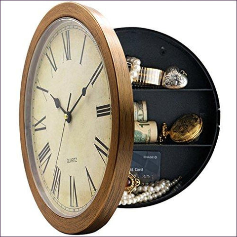 Plastic Wall Clock with Hidden Compartment