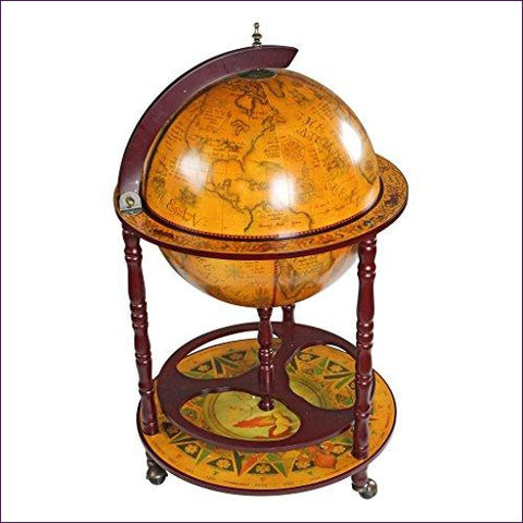 Sixteenth-Century Italian Replica Globe Bar Cart Cabinet on Wheels - Secret Compartment Decor with hidden compartments to stash your valuables -Secret Stashing