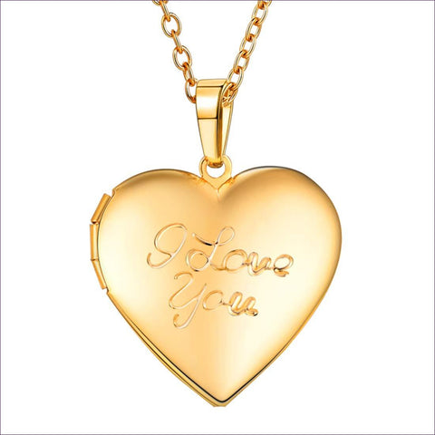 Heart-Shaped 18K Gold Plated I Love You Engraved Photo Locket Necklace