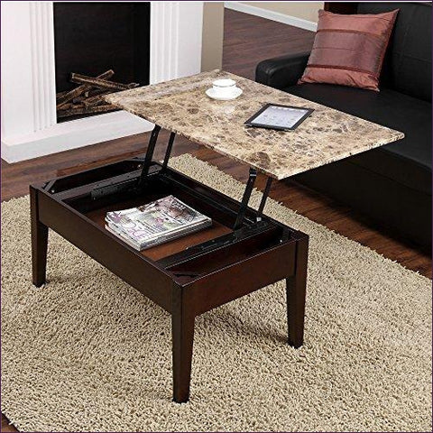 Dorel Living Faux Marble Lift Top Coffee Table - Concealment furniture and gun concealment furniture to hide your money, pistol, rifle or other weapons, keep guns safe away from kids with hidden compartment furniture -Secret Stashing
