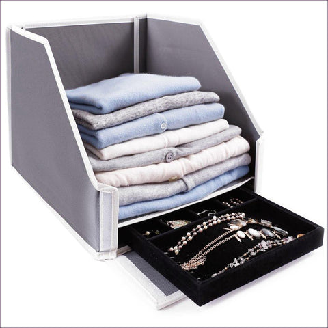 Collapsible Closet Sweater Bin with Hidden Jewelry & Keepsake Storage Compartment