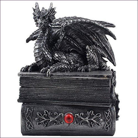 Mythical Guardian Dragon Trinket Box Statue with Hidden Book Storage Compartment