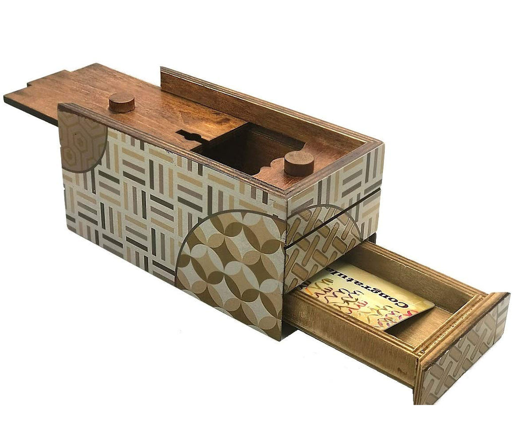 Wooden Secret Gift Box for Hidden Diamond Jewelry Surprise for Kids Puzzle Toy H