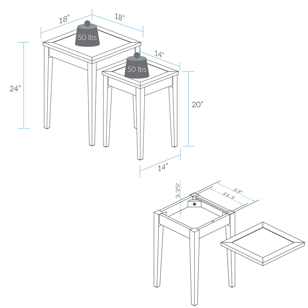 End Tables with Concealed Compartment